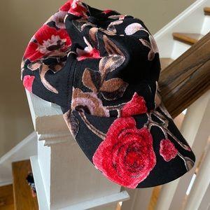 Anthropologie Black Floral Velvet Baseball Hat
